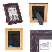 2er Set Vintage Bilderrahmen 15x15 cm Holz Dunkelbraun Shabby-Chic Massivholz mit Glasscheibe und Zubehör / Fotorahmen / Nostalgierahmen  – Bild 2