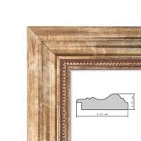 Bilderrahmen 30x42 cm DIN A3 Gold Barock Breit Massivholz mit Glasscheibe und Zubehör / für Meisterbrief / Urkunde – Bild 3