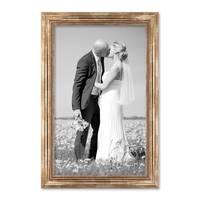 Bilderrahmen 40x50 cm Gold Barock Breit Massivholz mit Glasscheibe und Zubehör / Fotorahmen / Barock-Rahmen   – Bild 4