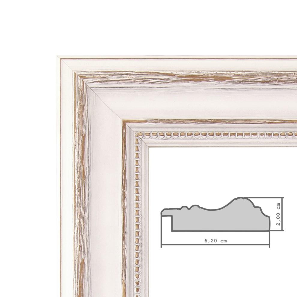 Bilderrahmen 40x50 cm Weiss Landhaus-Stil Breit Massivholz mit ...