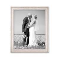 Bilderrahmen 50x60 cm Weiss Landhaus-Stil Breit Massivholz mit Glasscheibe und Zubehör / Fotorahmen / Shabby chic  – Bild 4