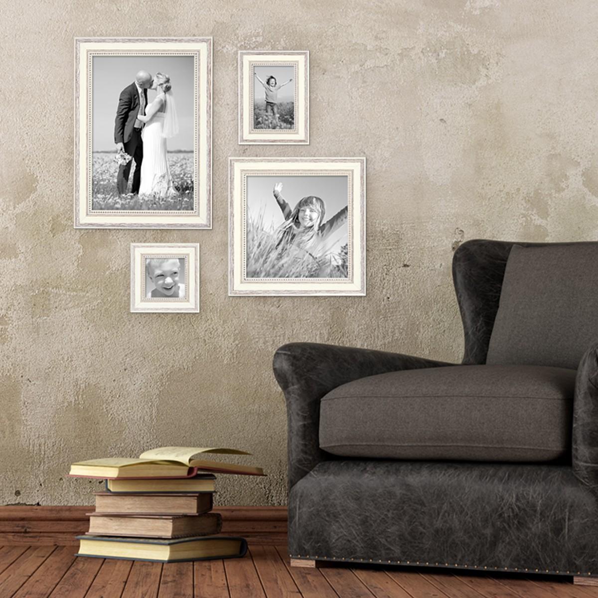 bilderrahmen shabby chic landhaus stil weiss 4er set. Black Bedroom Furniture Sets. Home Design Ideas
