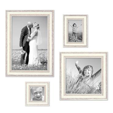 Bilderrahmen Shabby-Chic Landhaus-Stil Weiss 4er Set