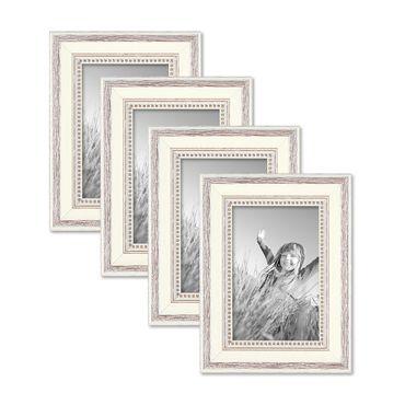 4er Set Bilderrahmen Shabby-Chic Landhaus-Stil Weiss 10x15 cm Massivholz mit Glasscheibe und Zubehör / Fotorahmen