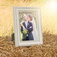 4er Set Bilderrahmen Shabby-Chic Landhaus-Stil Weiss 10x15 cm Massivholz mit Glasscheibe und Zubehör / Fotorahmen – Bild 3