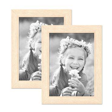 2er Set Bilderrahmen 13x18 cm Sonoma Eiche Hell Modern Massivholz-Rahmen mit Glasscheibe inkl. Zubehör / Fotorahmen