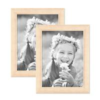 2er Set Bilderrahmen 18x24 cm Sonoma Eiche Hell Modern Massivholz-Rahmen mit Glasscheibe inkl. Zubehör / Fotorahmen  – Bild 1