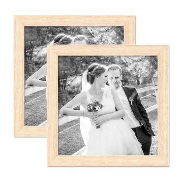 2er Set Bilderrahmen 20x20 cm Sonoma Eiche Hell Modern Massivholz-Rahmen mit Glasscheibe inkl. Zubehör / Fotorahmen