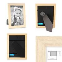 3er Set Bilderrahmen 15x15 cm Sonoma Eiche Hell Modern Massivholz-Rahmen mit Glasscheibe inkl. Zubehör / Fotorahmen  – Bild 2