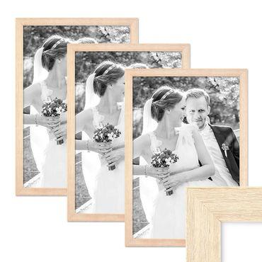 3er Set Bilderrahmen 30x40 cm Sonoma Eiche Hell Modern Massivholz-Rahmen mit Glasscheibe inkl. Zubehör / Fotorahmen