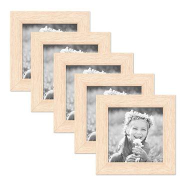 5er Set Bilderrahmen 10x10 cm Sonoma Eiche Hell Modern Massivholz-Rahmen mit Glasscheibe inkl. Zubehör / Fotorahmen