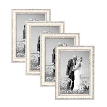 4er Set Bilderrahmen Shabby-Chic Landhaus-Stil Weiss 20x30 cm Massivholz mit Glasscheibe und Zubehör / Fotorahmen