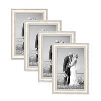 4er Set Bilderrahmen Shabby-Chic Landhaus-Stil Weiss 20x30 cm Massivholz mit Glasscheibe und Zubehör / Fotorahmen – Bild 1
