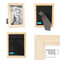 5er Set Bilderrahmen 15x15 cm Sonoma Eiche Hell Modern Massivholz-Rahmen mit Glasscheibe inkl. Zubehör / Fotorahmen  – Bild 2
