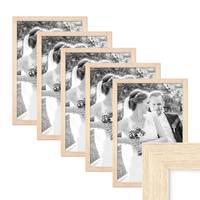 5er Set Bilderrahmen 30x40 cm Sonoma Eiche Hell Modern Massivholz-Rahmen mit Glasscheibe inkl. Zubehör / Fotorahmen  – Bild 1
