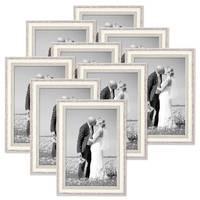 9er Bilderrahmen-Set Shabby-Chic Landhaus-Stil Weiss 20x30 cm