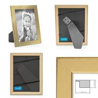 Bilderrahmen 13x18 cm Gold Modern Massivholz-Rahmen mit Glasscheibe inkl. Zubehör / Fotorahmen  – Bild 2