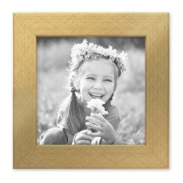 Bilderrahmen 15x15 cm Gold Modern Massivholz-Rahmen mit Glasscheibe inkl. Zubehör / Fotorahmen