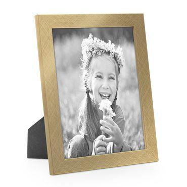 Bilderrahmen 15x20 cm Gold Modern Massivholz-Rahmen mit Glasscheibe inkl. Zubehör / Fotorahmen