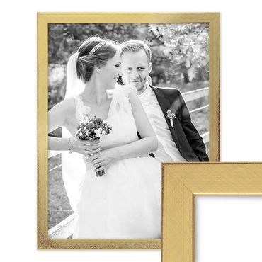 Bilderrahmen 30x40 cm Gold Modern Massivholz-Rahmen mit Glasscheibe inkl. Zubehör / Fotorahmen