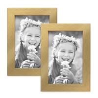 2er Set Bilderrahmen 10x15 cm Gold Modern Massivholz-Rahmen mit Glasscheibe inkl. Zubehör / Fotorahmen  – Bild 1