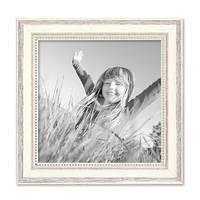 Bilderrahmen Shabby-Chic Landhaus-Stil Weiss 20x20 cm Massivholz mit Glasscheibe und Zubehör / Fotorahmen – Bild 1