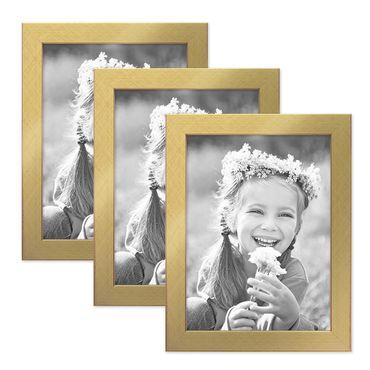 3er Set Bilderrahmen 18x24 cm Gold Modern Massivholz-Rahmen mit Glasscheibe inkl. Zubehör / Fotorahmen