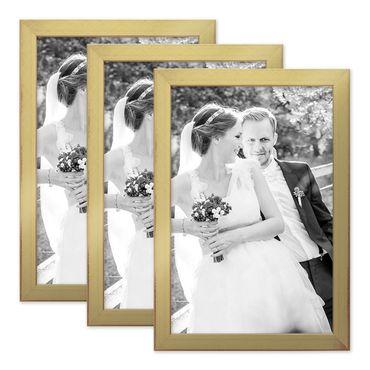 3er Set Bilderrahmen 21x30 cm / DIN A4 Gold Modern Massivholz-Rahmen mit Glasscheibe inkl. Zubehör / Fotorahmen