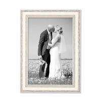 Bilderrahmen Shabby-Chic Landhaus-Stil Weiss 20x30 cm Massivholz mit Glasscheibe und Zubehör / Fotorahmen – Bild 1