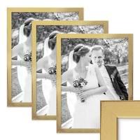 3er Set Bilderrahmen 30x42 cm / DIN A3 Gold Modern Massivholz-Rahmen mit Glasscheibe inkl. Zubehör / Fotorahmen  – Bild 1