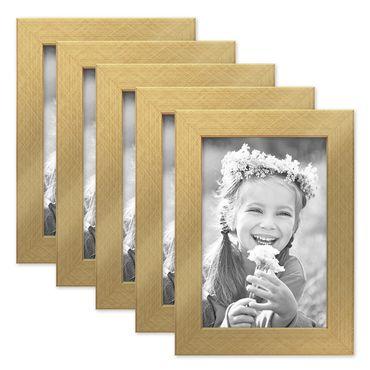 5er Set Bilderrahmen 10x15 cm Gold Modern Massivholz-Rahmen mit Glasscheibe inkl. Zubehör / Fotorahmen