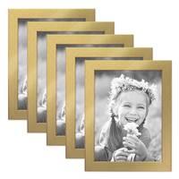 5er Set Bilderrahmen 18x24 cm Gold Modern Massivholz-Rahmen mit Glasscheibe inkl. Zubehör / Fotorahmen  – Bild 1
