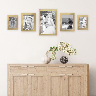 5er Set Bilderrahmen 10x15, 15x20 und 20x30 cm Gold Modern Massivholz-Rahmen mit Glasscheibe inkl. Zubehör / Fotorahmen