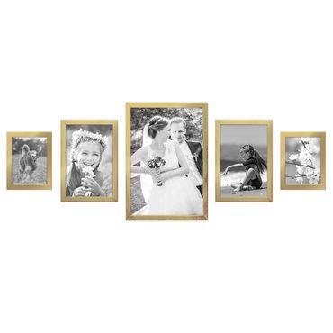 5er Set Bilderrahmen 15x20, 20x30 und 30x45 cm Gold Modern Massivholz-Rahmen mit Glasscheibe inkl. Zubehör / Fotorahmen