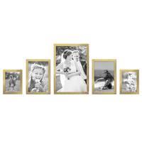 5er Set Bilderrahmen 15x20, 20x30 und 30x45 cm Gold Modern Massivholz-Rahmen mit Glasscheibe inkl. Zubehör / Fotorahmen  – Bild 3