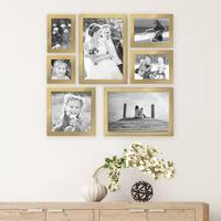 7er Set Bilderrahmen 10x10, 10x15, 13x18, 20x20 und 20x30 cm Gold Modern Massivholz-Rahmen mit Glasscheibe inkl. Zubehör / Fotorahmen