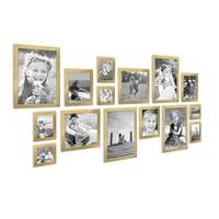 15er Set Bilderrahmen Modern Gold Massivholz 10x15 bis 20x30 cm inklusive Zubehör zur Gestaltung einer Collage / Bildergalerie