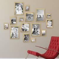 15er Set Bilderrahmen Modern Gold Massivholz 10x15 bis 20x30 cm inklusive Zubehör zur Gestaltung einer Collage / Bildergalerie – Bild 4