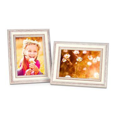 2er Set Bilderrahmen Shabby-Chic Landhaus-Stil Weiss 10x15 cm Massivholz mit Glasscheibe und Zubehör / Fotorahmen