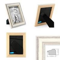 2er Set Bilderrahmen Shabby-Chic Landhaus-Stil Weiss 10x15 cm Massivholz mit Glasscheibe und Zubehör / Fotorahmen – Bild 2