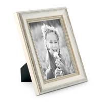 2er Set Bilderrahmen Shabby-Chic Landhaus-Stil Weiss 10x15 cm Massivholz mit Glasscheibe und Zubehör / Fotorahmen – Bild 5