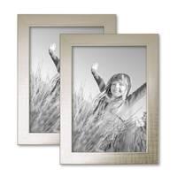2er Bilderrahmen-Set 13x18 cm Silber Modern Massivholz