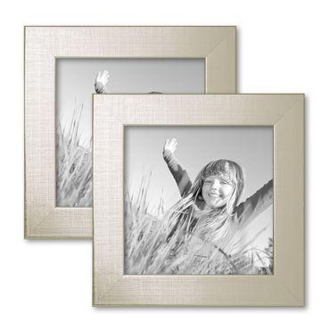 2er Set Bilderrahmen 15x15 cm Silber Modern Massivholz-Rahmen mit Glasscheibe inkl. Zubehör / Fotorahmen