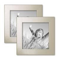 2er Bilderrahmen-Set 15x15 cm Silber Modern Massivholz