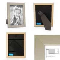 2er Set Bilderrahmen 15x15 cm Silber Modern Massivholz-Rahmen mit Glasscheibe inkl. Zubehör / Fotorahmen  – Bild 2