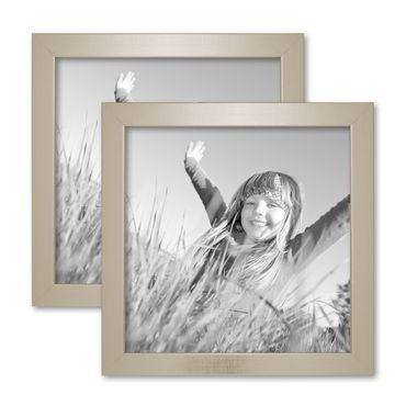 2er Set Bilderrahmen 20x20 cm Silber Modern Massivholz-Rahmen mit Glasscheibe inkl. Zubehör / Fotorahmen