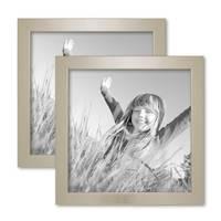 2er Bilderrahmen-Set 20x20 cm Silber Modern Massivholz