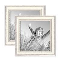 2er Set Bilderrahmen Shabby-Chic Landhaus-Stil Weiss 20x20 cm Massivholz mit Glasscheibe und Zubehör / Fotorahmen