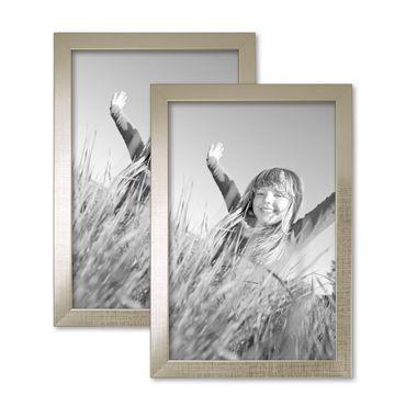 2er Set Bilderrahmen 20x30 cm Silber Modern Massivholz-Rahmen mit Glasscheibe inkl. Zubehör / Fotorahmen
