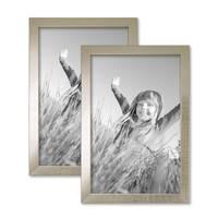 2er Set Bilderrahmen 20x30 cm Silber Modern Massivholz-Rahmen mit Glasscheibe inkl. Zubehör / Fotorahmen  – Bild 1